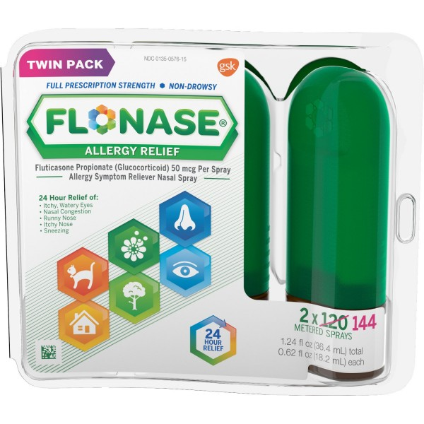 Flonase 24hr Allergy Relief Nasal Spray, Full Prescription Strength, 288 Sprays (Twinpack of 144 Sprays)1